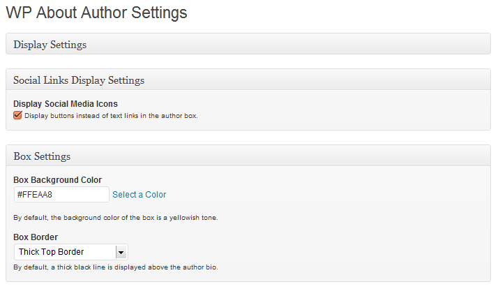 WP About Author Settings Page