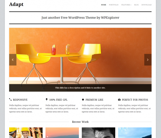 Adapt Free Premium Responsive WordPress Theme in 2012