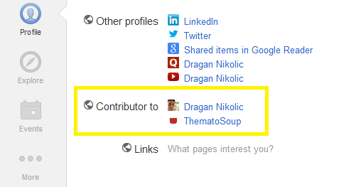 """Contributor to"" Section in Google+"