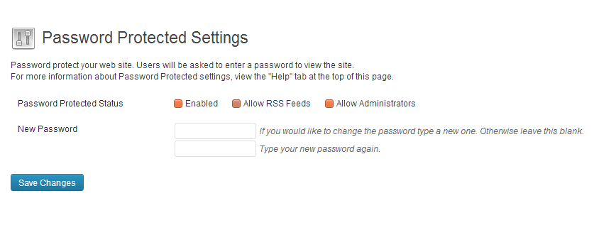 Password Protected Settings Page