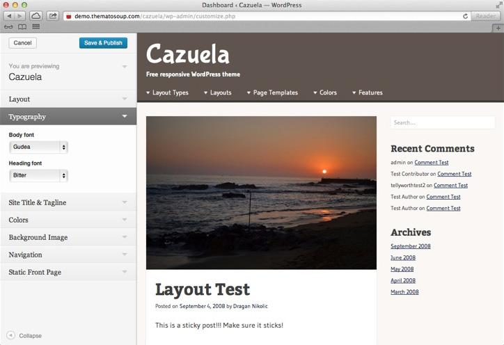 Cazuela, Theme Customizer