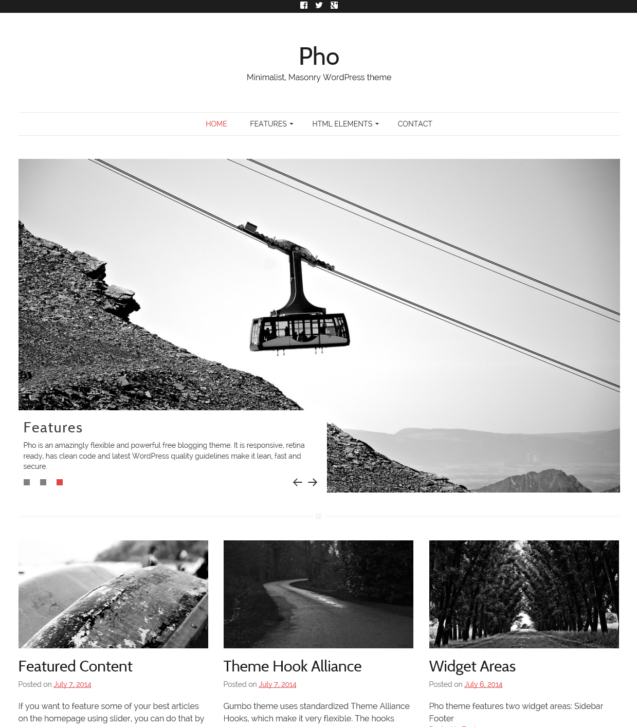 Pho minimalist masonry wordpress theme thematosoup for Minimalist homepage
