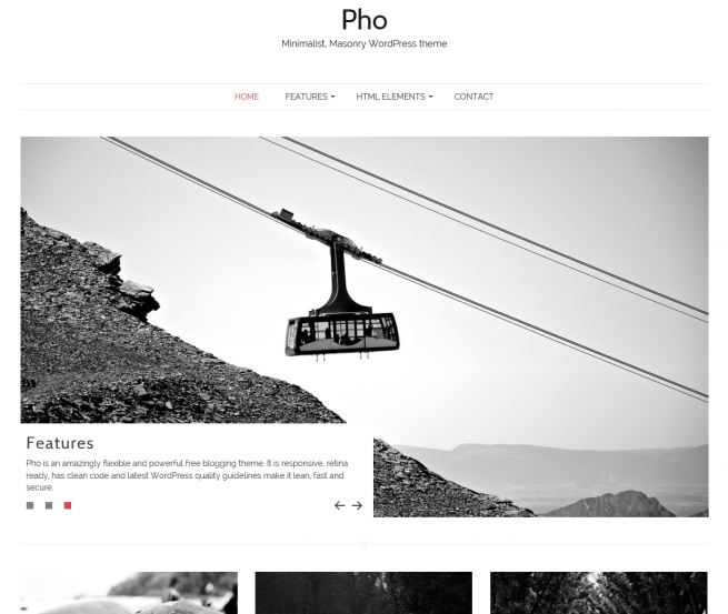 Minimalist, free, masonry WordPress theme