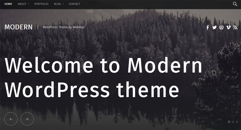 Modern, free WordPress theme