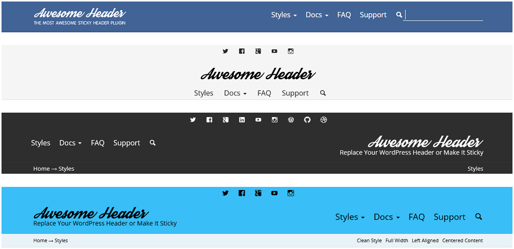 Header, replaces your WordPress header or makes it sticky.