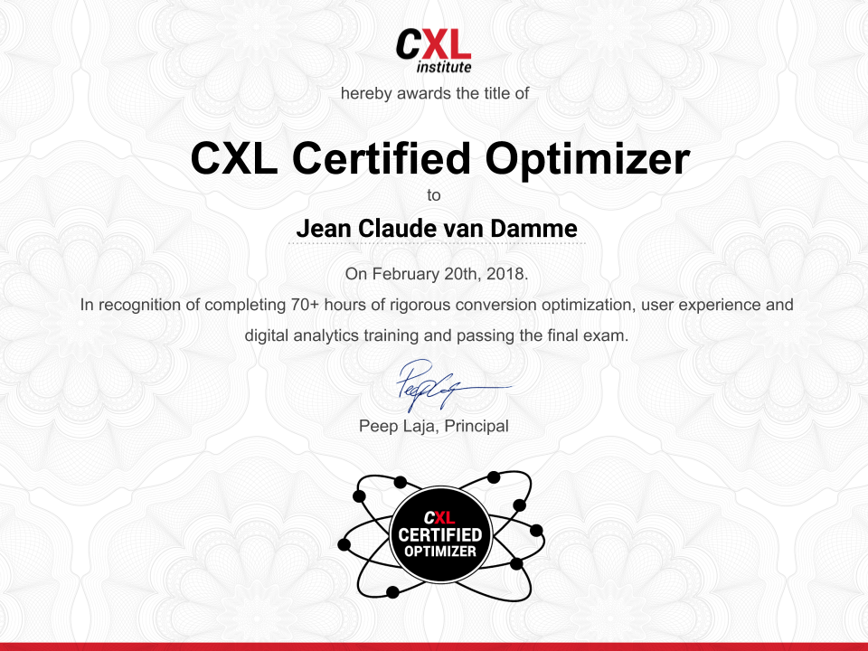 Certified Coversion Optimizer - CXL Institute