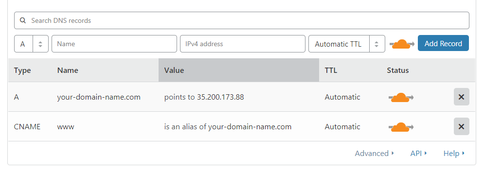Cloudflare Add Custom DNS records