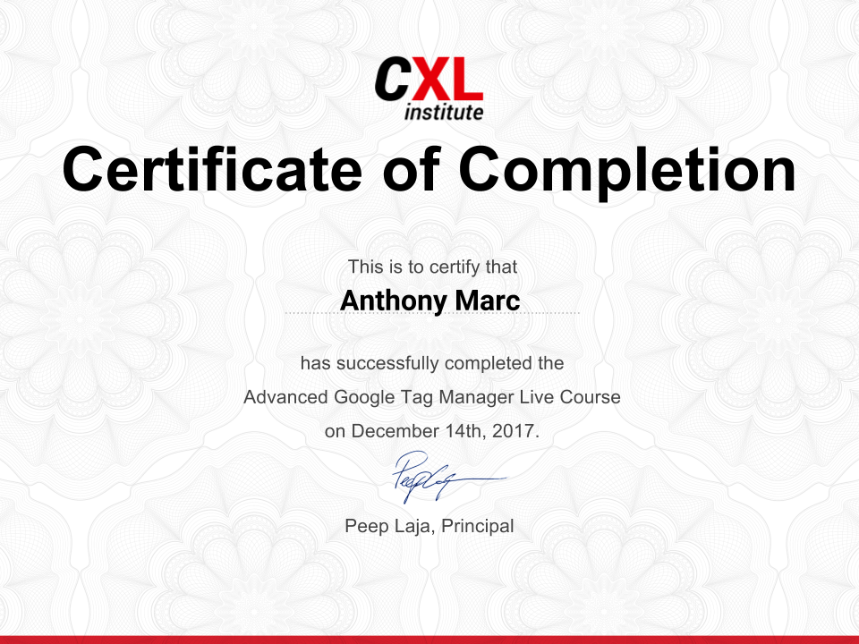 Google Tag Manager Advanced Course Certificate by CXL