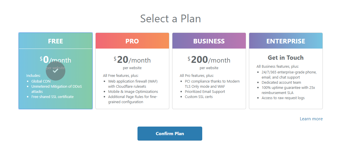Choose Your Cloudflare Plan