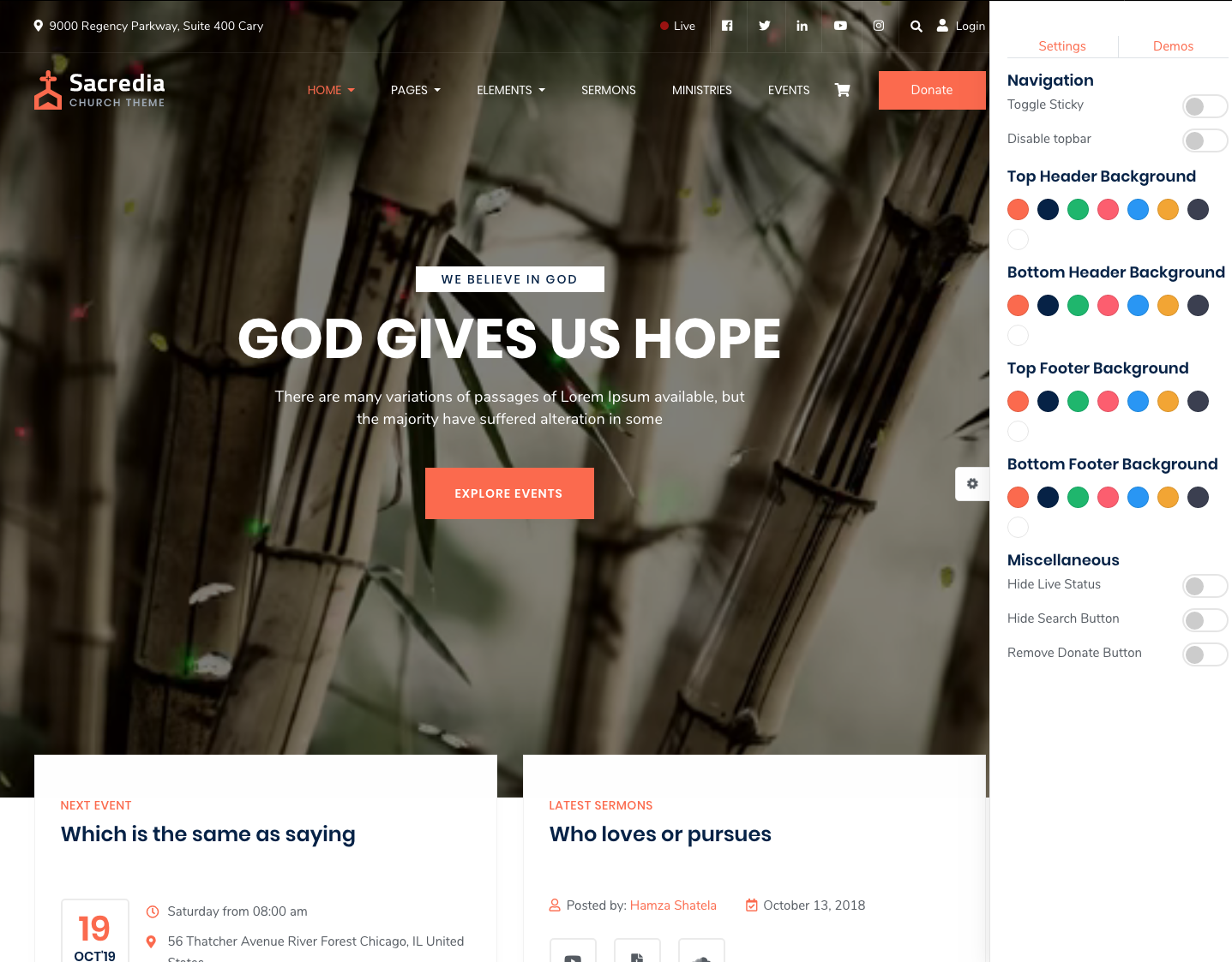 Best Church WordPress Theme Sacredia Demo