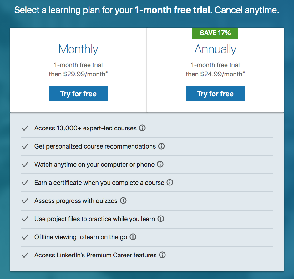 LinkedIn Learning Pricing